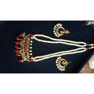 Women Red Designer Trimuni And Chand Bali Necklace Set