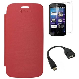 Red Flip Cover Case for Micromax A110 Canvas 2 Superfone with Screen + USB OTG