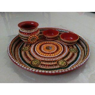Handmade Aarti thali With Kundan Work