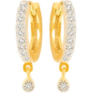 Aditri Fancy Gold And Rhodium Plated American Diamond hoop Bali Earrings-BLRJ517