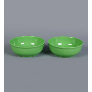Machi Green Melamine 1000 ML Serving Round Bowl - Set Of 2