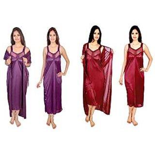 @rk Women Satin 2 PC (Combo pack) mahroon and Purple  Nighty,Night Suit, Night dress set for ladies