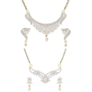 Aditri American Diamond Cz Mangalsutra Earring Set Combo Of 2