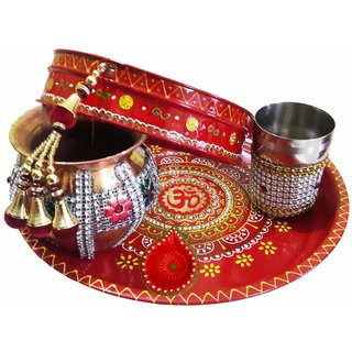 Decorated Colorful Om Pooja Thali Set For Karwachauth Festival (Thali-26x3 cm, Diya-5x3.5 cm, Copper Lota-10x10 cm, Glas