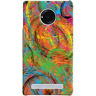 Oyehoye Micromax Yuphoria Mobile Phone Back Cover With Colourful Pattern Style - Durable Matte Finish Hard Plastic Slim Case