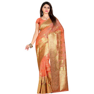 Fabdeal Party Wear Orange Color Embellished Kanjivaram Silk Saree/Sari With Zari Work