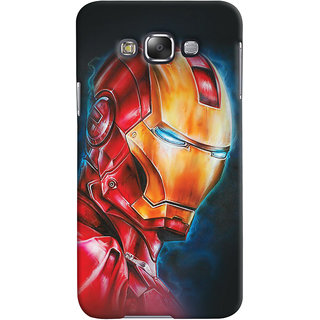 Oyehoye Samsung Galaxy E7 Mobile Phone Back Cover With Iron Man - Durable Matte Finish Hard Plastic Slim Case