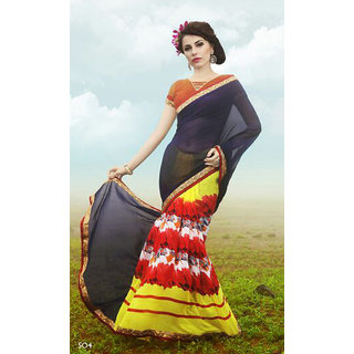 MD Textile Yellow Colour Georgette With Lace Work Printed Saree With Blouse