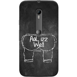 Oyehoye Motorola Moto G3 Mobile Phone Back Cover With Aal Izz Well Quirky - Durable Matte Finish Hard Plastic Slim Case