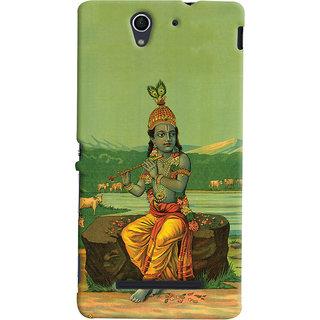Oyehoye Sony Xperia C3 / Dual Sim Mobile Phone Back Cover With Vintage Krishna Poster - Durable Matte Finish Hard Plastic Slim Case