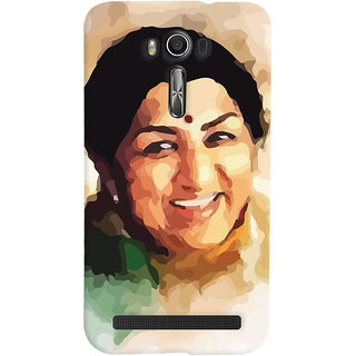 Oyehoye Asus Zenfone 2 Laser ZE601KL Mobile Phone Back Cover With Lata Mangeshkar - Durable Matte Finish Hard Plastic Slim Case