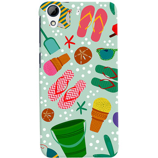Oyehoye HTC Desire 728 / 728G / Dual Sim Mobile Phone Back Cover With Beach Time Pattern - Durable Matte Finish Hard Plastic Slim Case