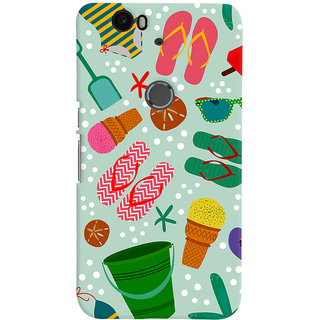 Oyehoye Huawei Google Nexus 6P Mobile Phone Back Cover With Beach Time Pattern - Durable Matte Finish Hard Plastic Slim Case