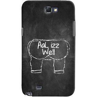 Oyehoye Samsung Galaxy Note 2 Mobile Phone Back Cover With Aal Izz Well Quirky - Durable Matte Finish Hard Plastic Slim Case