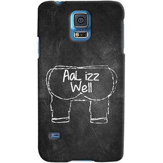 Oyehoye Samsung Galaxy S5 Mobile Phone Back Cover With Aal Izz Well Quirky - Durable Matte Finish Hard Plastic Slim Case