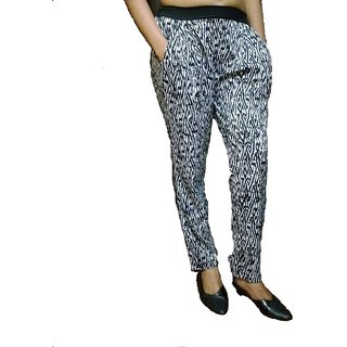 Timbre Stylish Party Wear Zigzag Print Cigarette Pant Crepe Fabric
