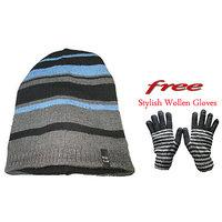 Stylish Winter Woolen Cap With Free Gloves