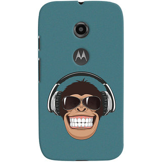 Oyehoye Motorola Moto E2 Mobile Phone Back Cover With Music Lover Quirky Style - Durable Matte Finish Hard Plastic Slim Case