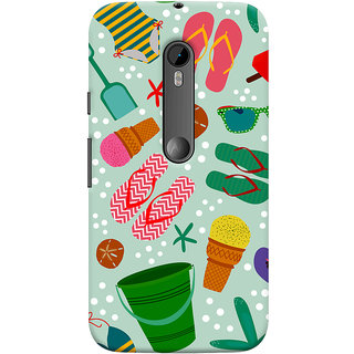 Oyehoye Motorola Moto G3 Mobile Phone Back Cover With Beach Time Pattern - Durable Matte Finish Hard Plastic Slim Case