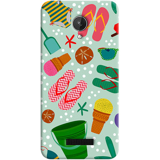 Oyehoye Micromax Canvas Spark Q380 Mobile Phone Back Cover With Beach Time Pattern - Durable Matte Finish Hard Plastic Slim Case