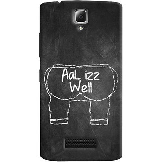 Oyehoye Lenovo A2010 Mobile Phone Back Cover With Aal Izz Well Quirky - Durable Matte Finish Hard Plastic Slim Case