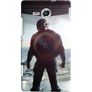 Oyehoye Sony Xperia SP Mobile Phone Back Cover With Captain America - Durable Matte Finish Hard Plastic Slim Case