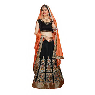 Black Net Semi Stitched Wedding Lehenga Choli