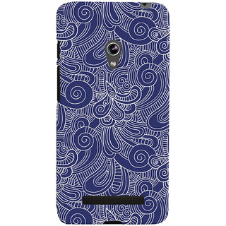 Oyehoye Asus Zenfone 5 Mobile Phone Back Cover With Blue Abstract Pattern - Durable Matte Finish Hard Plastic Slim Case