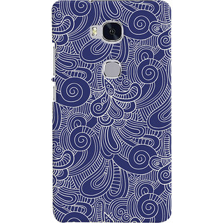 Oyehoye Huawei Honor 5X / Dual Sim Mobile Phone Back Cover With Blue Abstract Pattern - Durable Matte Finish Hard Plastic Slim Case
