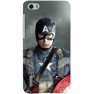 Oyehoye Huawei Honor 6 / Dual Sim Mobile Phone Back Cover With Captain America - Durable Matte Finish Hard Plastic Slim Case