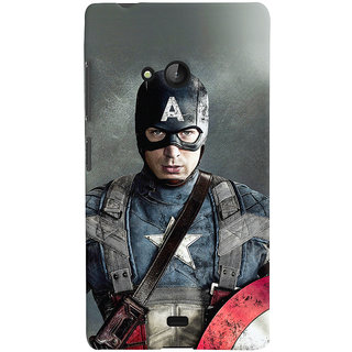 Oyehoye Microsoft Lumia 540 Mobile Phone Back Cover With Captain America - Durable Matte Finish Hard Plastic Slim Case