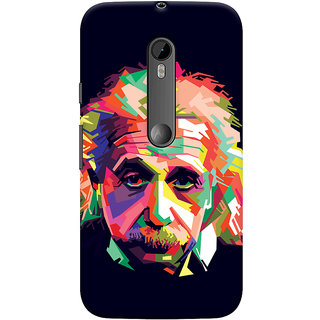 Oyehoye Motorola Moto G3 Mobile Phone Back Cover With Einstein Low Poly Art - Durable Matte Finish Hard Plastic Slim Case