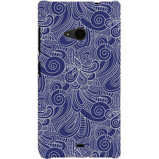 Oyehoye Microsoft Lumia 535 / Dual Sim Mobile Phone Back Cover With Blue Abstract Pattern - Durable Matte Finish Hard Plastic Slim Case