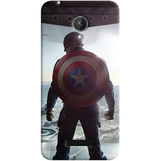 Oyehoye Micromax Canvas Spark Q380 Mobile Phone Back Cover With Captain America - Durable Matte Finish Hard Plastic Slim Case