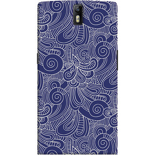 Oyehoye OnePlus One Mobile Phone Back Cover With Blue Abstract Pattern - Durable Matte Finish Hard Plastic Slim Case