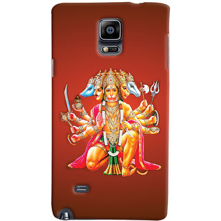 Oyehoye Samsung Galaxy Note 4 Mobile Phone Back Cover With Devotional Punch Mukhi Hanuman - Durable Matte Finish Hard Plastic Slim Case