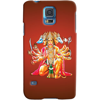 Oyehoye Samsung Galaxy S5 Mobile Phone Back Cover With Devotional Punch Mukhi Hanuman - Durable Matte Finish Hard Plastic Slim Case