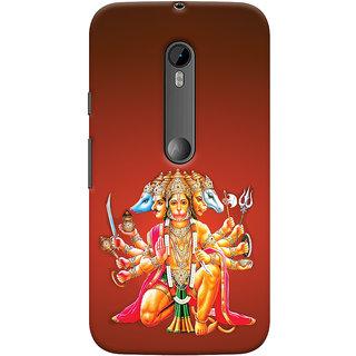 Oyehoye Motorola Moto G3 Mobile Phone Back Cover With Devotional Punch Mukhi Hanuman - Durable Matte Finish Hard Plastic Slim Case