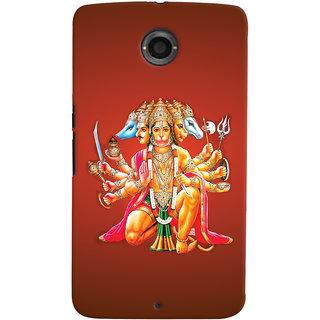 Oyehoye Motorola Google Nexus 6 Mobile Phone Back Cover With Devotional Punch Mukhi Hanuman - Durable Matte Finish Hard Plastic Slim Case