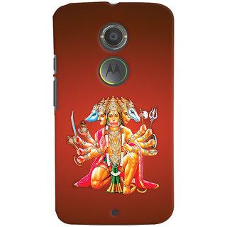 Oyehoye Motorola Moto X2 Mobile Phone Back Cover With Devotional Punch Mukhi Hanuman - Durable Matte Finish Hard Plastic Slim Case