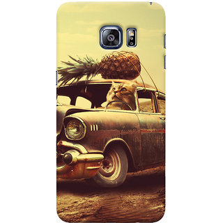 Oyehoye Samsung Galaxy S6 Edge Plus Mobile Phone Back Cover With Vintage Car - Durable Matte Finish Hard Plastic Slim Case