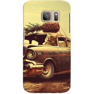 Oyehoye Samsung Galaxy S7 Edge Mobile Phone Back Cover With Vintage Car - Durable Matte Finish Hard Plastic Slim Case