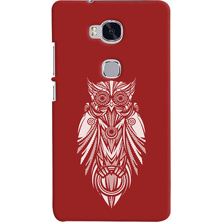 Oyehoye Huawei Honor 5X / Dual Sim Mobile Phone Back Cover With Animal Print Owl - Durable Matte Finish Hard Plastic Slim Case