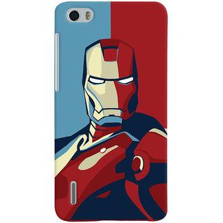 Oyehoye Huawei Honor 6 / Dual Sim Mobile Phone Back Cover With Iron Man - Durable Matte Finish Hard Plastic Slim Case
