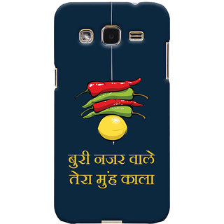 Oyehoye Samsung Galaxy J2 Mobile Phone Back Cover With Buri Nazar Wale Tera Muh Kala Quirky - Durable Matte Finish Hard Plastic Slim Case