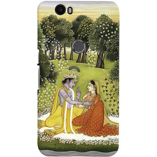 Oyehoye Huawei Google Nexus 6P Mobile Phone Back Cover With Vintage Radhe Krishna Art - Durable Matte Finish Hard Plastic Slim Case