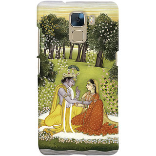 Oyehoye Huawei Honor 7 / Dual Sim / Enhanced Edition Mobile Phone Back Cover With Vintage Radhe Krishna Art - Durable Matte Finish Hard Plastic Slim Case