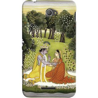 Oyehoye Sony Xperia E4 Mobile Phone Back Cover With Vintage Radhe Krishna Art - Durable Matte Finish Hard Plastic Slim Case