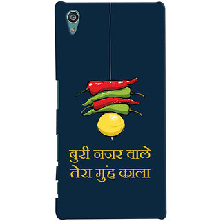 Oyehoye Sony Xperia Z5 Mobile Phone Back Cover With Buri Nazar Wale Tera Muh Kala Quirky - Durable Matte Finish Hard Plastic Slim Case