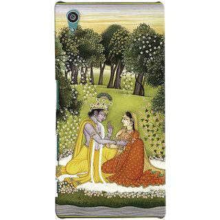 Oyehoye Sony Xperia Z5 Mobile Phone Back Cover With Vintage Radhe Krishna Art - Durable Matte Finish Hard Plastic Slim Case